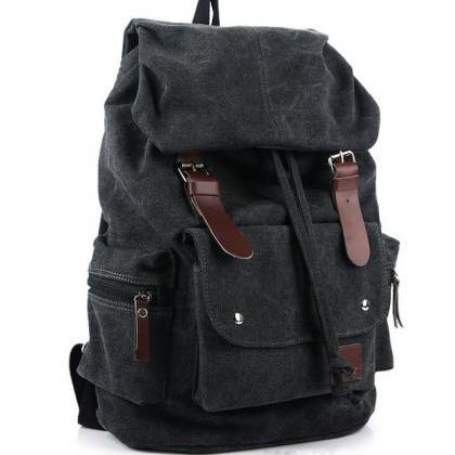 Four Color Shoulder Canvas Backpack