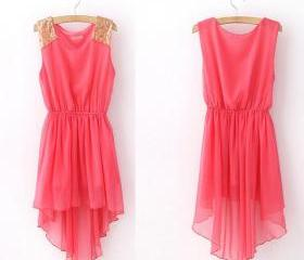 Watermelon Red Sequin Shoulder High-Low Chiffon Dress For Women