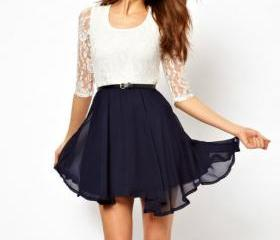 Sleeve Waist Lace Chiffon Dress