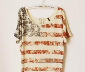 Vintage Old American Flag Printed Short-sleeve T-shirt