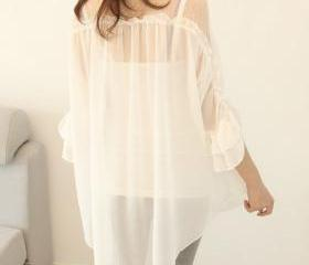 Chiffon Fashion Pearl Buttons Blouse Shirt