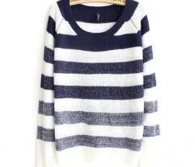 Retro Stripe Gradient Knit Pullover Sweater