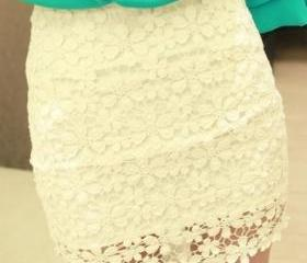 White High Waisted Lace Mini Dress
