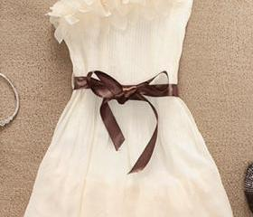 Sweet Flowers Shoulder Pleated Dress