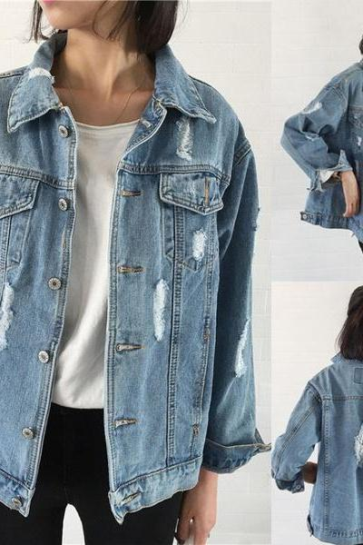 Distressed Denim Jacket with Long Sleeves and Front Pockets